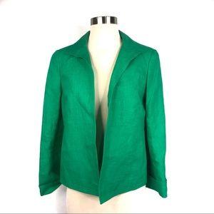 Talbots Green Linen Open Blazer Jacket Size 2